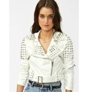 White Studded Vegan Leather Jacket